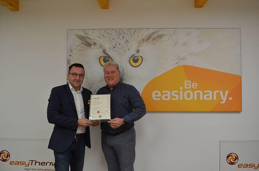 easyTherm GmbH aus Oberwart im Burgenland wird ausgezeichnet als Firma mit Handschlagqualität
