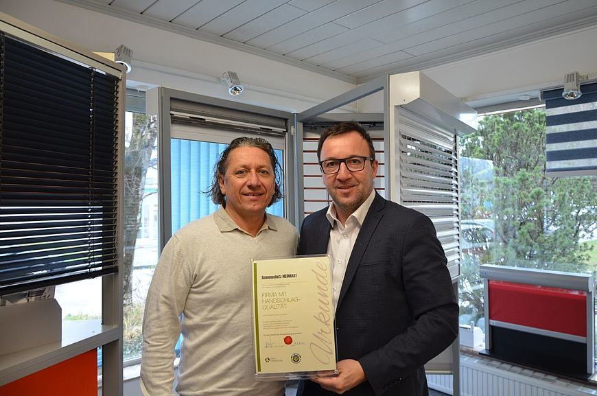Sonnenschutz Meinhart aus der Stadt Salzburg wird ausgezeichnet als Firma mit Handschlagqualität