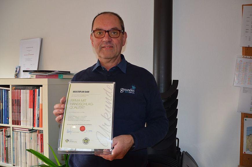 Kreativplan GmbH aus Gmunden in Oberösterreich wird ausgezeichnet als Firma mit Handschlagqualität!