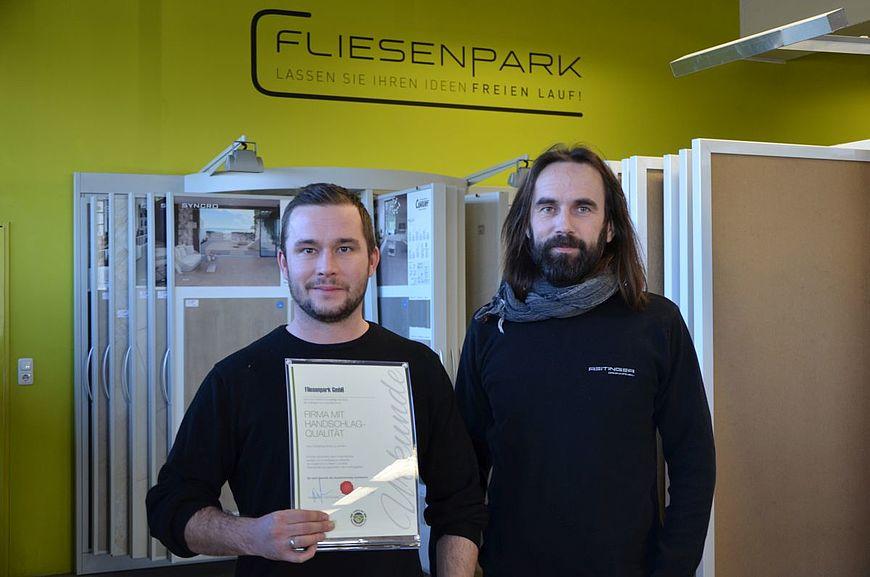 Fliesenpark GmbH aus Peuerbach in Oberösterreich wird ausgezeichnet als Firma mit Handschlagqualität!