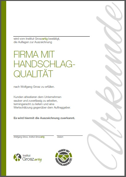 Urkunde Firmen mit Handschlagqualität Beitrag